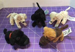 🌴 Lot of 5 Stuffed Mini Dogs -3 Animal Alley and 2 McDonald's The Dog -So Cute!
