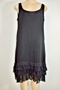 DKNY Black Silk Chiffon Mid Length Dress Size large On Sale eb