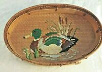 Serving Tray Bamboo Mallard Duck Needlepoint Vintage