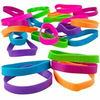 24 Rubber Bracelets With Sayings 8 Inches Diameter, Wristband, Assorted Colors