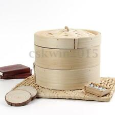 """2 Tier 8"""" Bamboo Steamer Chinese Dim Sum Basket Rice Pasta Cooker Set + Lid New"""
