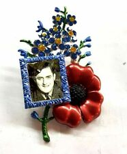 Large Red & Blue Poppy Flower Forget Me Not Picture Frame Brooch Pin BR300