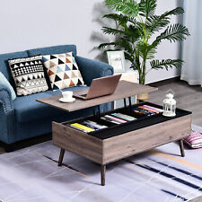 HOMCOM Lift-Top Coffee Table with Steel Frame Storage Shelves, for Home Office