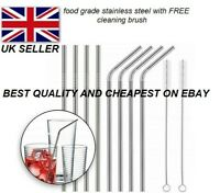 Metal Drinking Straws Stainless Steel Drinks Straw Cleaner Party Reusable Bar::