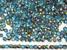 300 Preciosa Czech Glass Fire Polished Round Beads 6mm Aqua Vitrail coated, blue