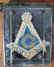 ANTIQUE MASONIC SYMBOL MICRO MOSAIC UNDER GLASS - Lodge 528