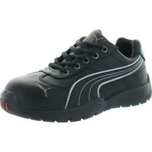 Puma Mens Black Leather Work Safety Shoes Sneakers 5 Medium (D) BHFO 0176