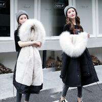 Womens Hooded Coat Parka Faux Fur Collar Jacket Winter Warm Fleece Lined Outwear