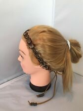 NEW Free People Feather Tie Headband  Beads Crown Hair Festival string Brown