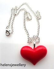 GORGEOUS HANDMADE RED HEART VALENTINES NECKLACE + FREE GIFT BAG + FREE P&P