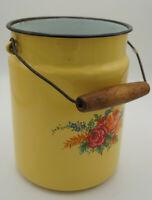 Vintage Email Milchkanne Kanne Eimer Dekor Emaille Retro Blumen Punkte 50er 17