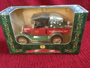 Ertl John Deere 1918 Red  Ford Pickup Truck Christmas Tree in back.  1997 #5135