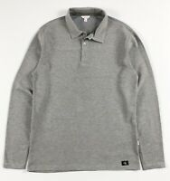 CALVIN KLEIN Polo Shirt Men's Slim Fit Long Sleeve Grey Waffle Knit Fleece