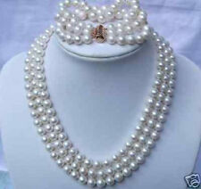 3 Rows Natural 7-8mm White Freshwater Pearl Necklace Bracelet Jewelry Set AAA