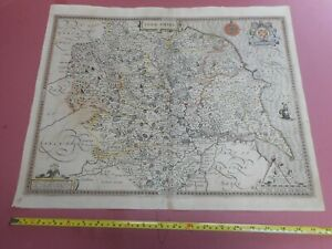 100% ORIGINAL LARGE YORKSHIRE MAP BY JOHN SPEED C1611 VGC HAND COLOURED
