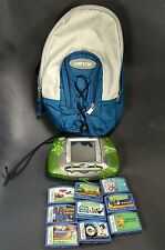 Leap Frog game system green Leapster learning 9 game cartridges sling bag carry