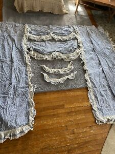JCPenny Blue Floral Country Ruffle Cotton Curtains VIintags Lace Trim