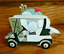 Handmade Pop Up box Card 3-D Golf Cart Happy Fathers Day! Flag, Tees & Golf bag