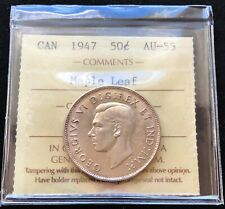 1947 Canada Silver 50 Cent Half Dollar ***ICCS Graded AU-55 Maple Leaf***