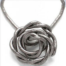 5mm 90cm Black Gun Iron Flexible Bendy Snake Bendable Necklace,6pcs/pack