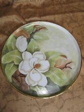 "Vintage Large Floral Round Painted  Platter Center Piece 12"" Signed Janet Faulk"