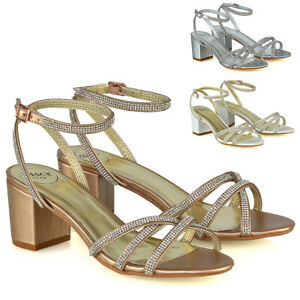 Womens Low Heel Sparkly Shoes Ladies Bridal Party Diamante Strappy Sandals Size