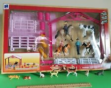 New-Ray Valley Ranch Pink Horse/Barrel set+Dog /Cats . Great ACCESSORIES.  Look