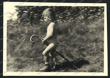 Vintage Photo-stock horse-cute young Boy-Knabe reitet spazierstock Pferd-teen