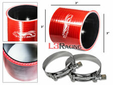 """RED 3"""" 76mm 3-ply Silicone Coupler Hose Turbo Intercooler + Clamps For Nissan"""