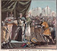 Gravure XVIIIe Philippe Auguste Bouvines 1214 Otton IV Traité De Chinon