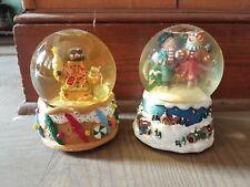 Vintage Sankyo Snowman Music Snow Globe Set (2), Let it Snow, Wish U A Merry