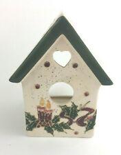 Candle Tea Light Holder Birdhouse Heart Christmas Tree Snow Beige Green Metallic