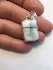 White Dendritic Agate Pendant Gemstone Necklace