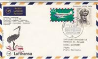 Frankfurt to Osaka Japan  1969 Lufthansa  flight stamps cover r19788