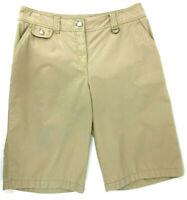 Jones New York Womens Bermuda Shorts Walking Casual Flat Front Beige Size 10