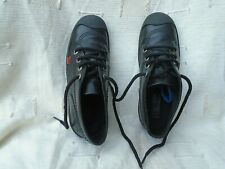 LADIES KICKERS BLACK LEATHER MID TOP LACE UP TRAINERS UK SIZE 4, EU 37