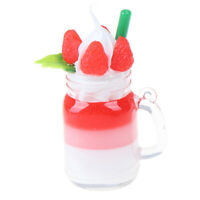 1x Dollhouse Miniature Drink Strawberry Cream Cups Model Pretend Play Food To_ks