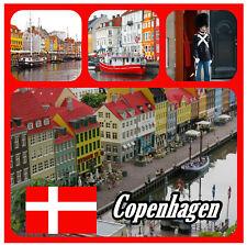 COPENHAGEN, DENMARK - SOUVENIR NOVELTY BIG SQUARE FRIDGE MAGNET / SIGHTS / GIFTS