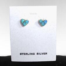 Southwestern Style Sterling Silver Inlay Blue Opal Heart Earrings