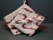 Double Thick Crocheted Pot Holder Hot Pad Pair - Prairie - brown celery ecru
