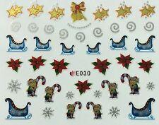 Christmas Nail Art Stickers Decals Snowflakes Santa Sleigh Candy Cane E30