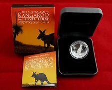 2012   1oz , $ 1 Silver Kangaroo Proof High Relief Coin -  Australia Perth Mint