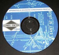 Illinois Central RR 1944 Springfield Div  Condensed Profiles PDF pages on DVD
