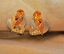 Vintage Coro Clip Earrings Amber Colored Glass Rhinestones 14K GP Ribbed Leaves