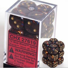Chessex Dice d6 Set 16mm Scarab Blue Blood w/ Gold Six Sided Die 12 CHX 27619