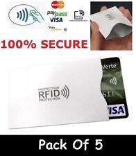 5 X Protector De Tarjetas tipo Billetera de Bloqueo de RFID Sin contacto titular 100% de protección de RF