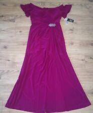 Alex Evenings Fuchs Pink Embellished Off Shoulder Maxi Front Slit Dress Size 18