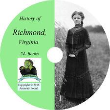 RICHMOND Virginia VA - History & Genealogy - Family records - 24 Books CD DVD