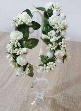 1 Handmade Wedding First Communion Special Occasion White Flowers Hair Band