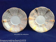 🌟 2 x QUEEN ANNE CHINTZ GOLD LACE SAUCERS lots of chintz instore